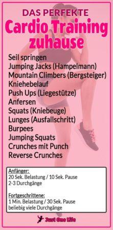 Cardio Training zuhause - Trainingsplan
