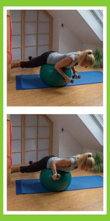 Übungen für den Rücken: Außenrotation liegend auf dem Pezziball