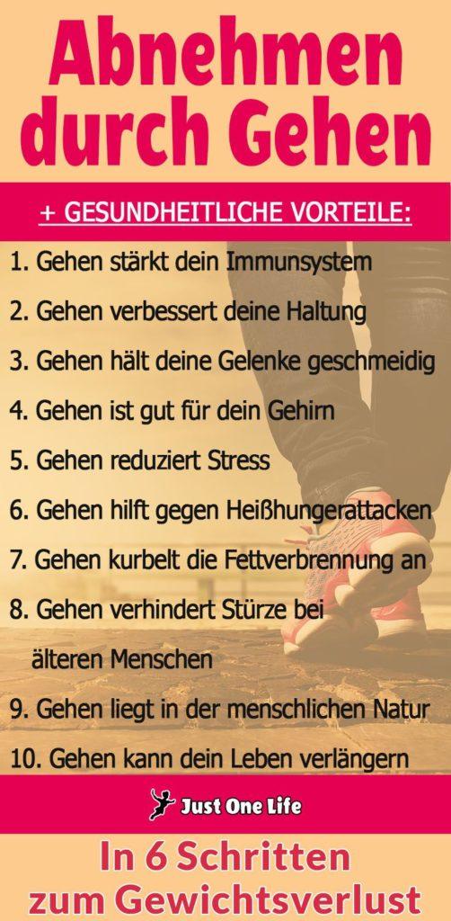 Abnehmen durch Gehen + 10 gesundheitliche Vorteile