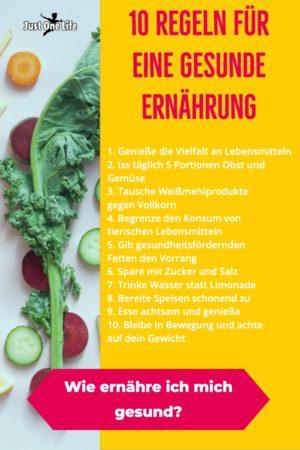 10 Regeln für eine gesunde Ernährung - Infografik