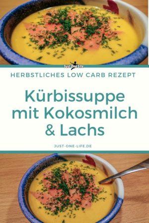 Kürbissuppe mit Kokosmilch und Lachs - herbstliches Low Carb Rezept